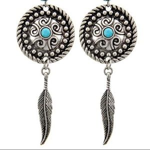 Turquoise stone feather dangles